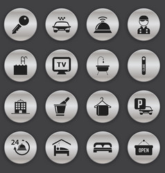 set of 16 editable hotel icons includes symbols vector image vector image