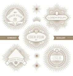 Set of line heraldic emblems with sunburst vector
