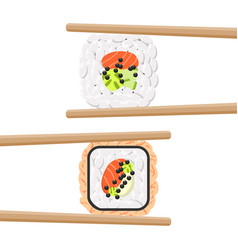 set of yummy colored sushi rolls with chopsticks vector image vector image