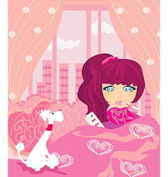 Sick girl lying in bed vector