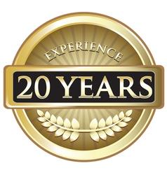 Twenty years experience gold vector