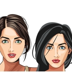 Two gils beauty fashion model vector
