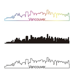 Vancouver skyline linear style with rainbow vector image vector image