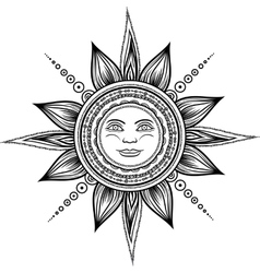 Vintage hand drawn sun eclipse vector