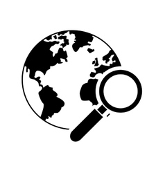 Earth globe and magnifying glass icon vector