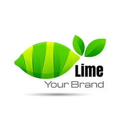 Bright cut green juicy lime slices logo design vector