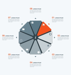 Infographic temlate with octagon 8 options vector