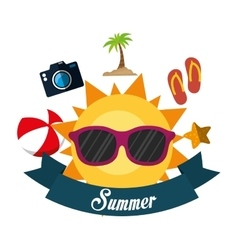 Poster summer fun sun glasses ball flip flop vector