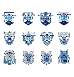 Set of ice hockey badges stickers emblems vector