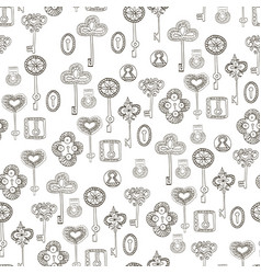 Seamless black and white pattern with keys vector