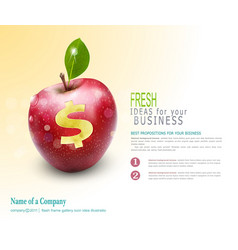 Template for business apple with cut dollar sign vector