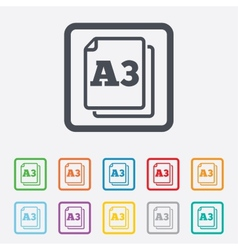 Paper size a3 standard icon document symbol vector