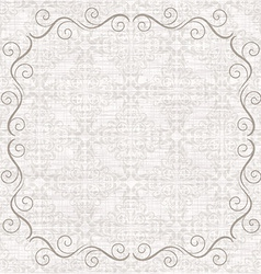 Damask background with vintage frame vector
