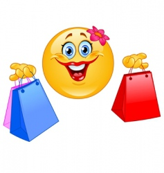 Shopping emoticon vector