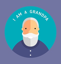 Portrait of grandfather flat design icon with text vector