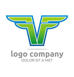 Logo letter f alphabet green company design symbol vector