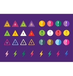 Attention warning sign icons set vector