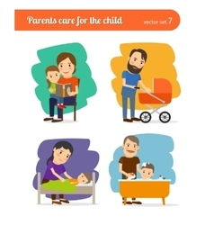 Parents care for the child vector