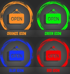 open icon Fashionable modern style In the orange vector image