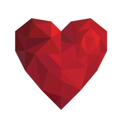 Heart in low poly triangle style for valentine day vector