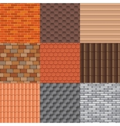 Roof tiles and roof texture set vector