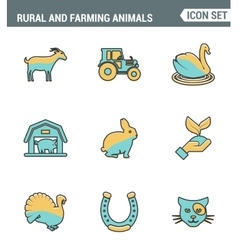 Icons line set premium quality of rural and vector
