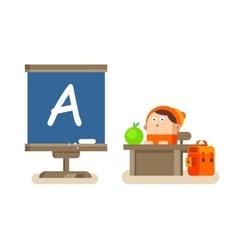 Boy sitting at a desk vector