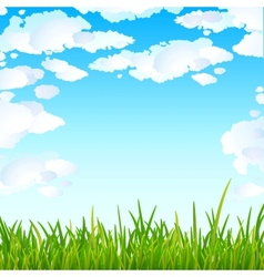 Background with bright blue sky and green grass vector
