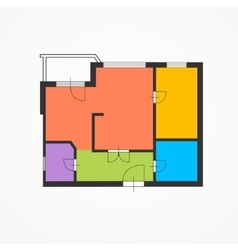 Architect colorful floor plan vector
