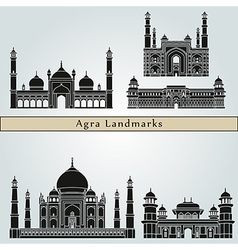 Agra landmarks and monuments vector