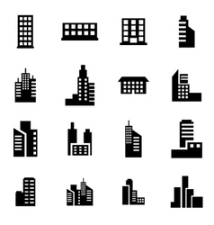 Black building icon set vector