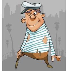 Cartoon funny male sailor in ragged clothes vector