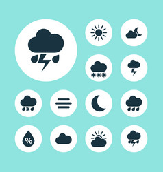 Climate icons set collection of sun moon snowy vector