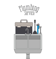 Color poster of dishwasher plumbing service vector