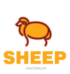 Color stylized drawing of sheep vector