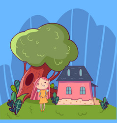 colorful doodle landscape with little house old vector image