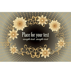 Dark golden floral design with text space vector