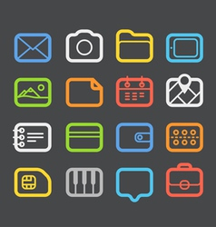 Different color web icons set vector