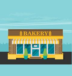 Facade of bakery flat vector