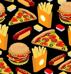 Fast food pattern hamburger and french fries on vector