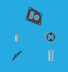 Flat icon parts set of gasket packing belt and vector
