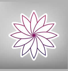 Flower sign purple gradient icon on white vector