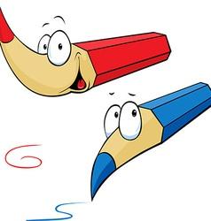 Funny colored pencils cartoon vector