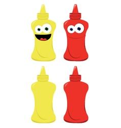 Funny mustard and ketchup vector