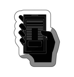hand user with smartphone device isolated icon vector image vector image