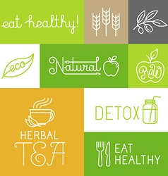 healthy and fresh farm products labels vector image vector image