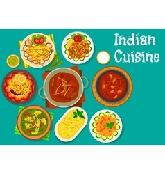Indian cuisine spicy dinner with dessert icon vector