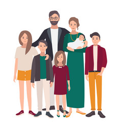 large family portrait european mother father and vector image vector image