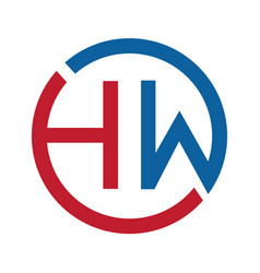 letter hw logo design vector image