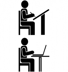 man writes pictogram symbol vector image vector image